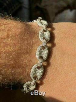 Hommes 12mm Gucci Bracelet Massif 925 Argent Icy Man Made Diamant 6-9