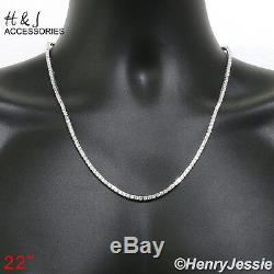 Hommes 925 17-28x3mm Sterling Silver Bling 1 Ligne Tennis Chaîne Necklacesn10