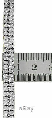 Hommes Diamond 2 Ligne Tennis Bracelet En Or Jaune 10k Plus D'argent Sterling 8.5