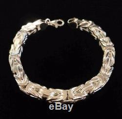 Hommes Roi Byzantin Boîte Bracelet Chaîne 8 MM 76gr 9,05 Pouces Argent 925