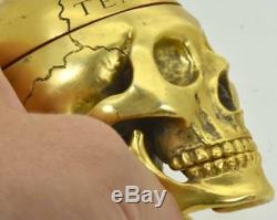 Hou La La! Unique Verge Fusée D'argent Sterling Gild Memento Mori Skull Clock C1747