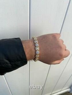 Iced Argent Massif 925 Sterling En Or 14k Diamant Tennis Bracelet Baguette Hip Hop