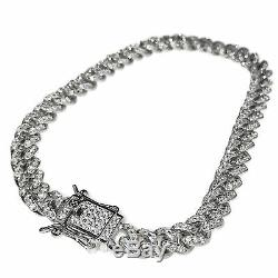 Iced Hommes Miami Cuba Bracelet Argent Massif 925 Sterling Micro Pave 8 X 6 MM