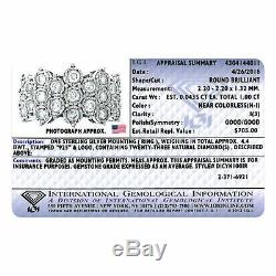 Igi Certifié 1 Ct Bague En Diamant Nid D'abeille En Argent Sterling