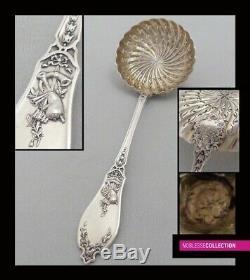 Lapparra Antique 1890. Sterling Français Argent Et Vermeil Sucre Sifter Spoon