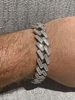 Le 18mm Hommes Prong Baguette Cuba Bracelet Argent Massif 925 Sterling Entièrement Iced