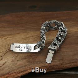 Lourd Bracelet En Argent 925 Sterling Solide Hommes Vajra Lien Chaîne Lectio Bijoux