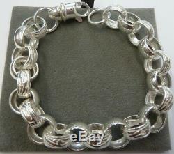 Lourd Plain & Argent Massif Bracelet Patterned Belcher 34 G -13mm