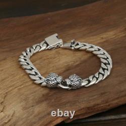 Men's Solid 925 Sterling Silver Bracelet Link Leopard Head Chain Bijoux