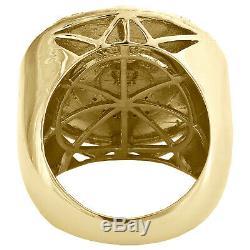 Mens 925 Diamant En Argent Sterling Jaune Véritable Aztèque Calenda Pinky Anneau 1/10 Ct