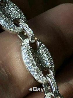 Mens Gucci Bouffantes Bracelet Massif Véritable Argent 925 Diamant Icy