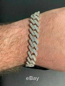 Mens Prong Miami Bracelet Cubain 8,5 Argent Massif 925 Sterling 12mm Bust Vers Le Bas