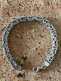 Mens Real Solid 925 Sterling Silver Byzantine Bracelet 6mm 35 Grammes 8 Lourds