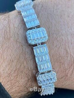Mens Solid Real Argent 925 Bracelet Iced Diamant Baguette Out Inondé