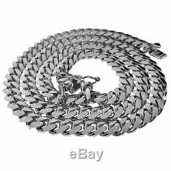 Mens Solid Real Argent 925 Miami Cuban Chain Link Italie Collier 20