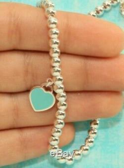 Mini-coeur Tag Bracelet En Émail 925 En Argent Massif 16cm Rouge