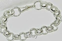 Motif Solide Belcher En Argent Sterling Bracelet Hommes Et Lien Clair 8,75 Pouces