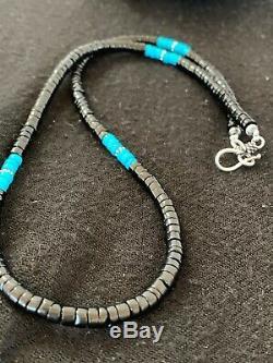 Native American Bleu Turquoise Heishi Onyx Collier En Argent Sterling Men 8823