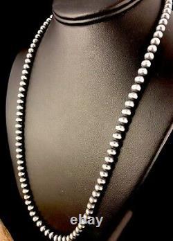 Native American Navajo Pearls 4 MM Sterling Silver Bead Necklace 21 Vente