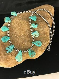 Native American Navajo Perles Argent Bleu Turquoise Collier 306