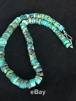 Native American Turquoise 8 MM 20 Perle Argent Heishi Collier 1135
