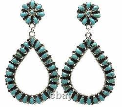 Navajo Handmade Sterling Silver Turquoise Cluster Post Boucles D'oreilles Par Mathilda B