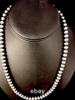 Navajo Pearls Navajo Amérindiens 7mm Collier De Perles D'argent Sterling 24 Vente 391