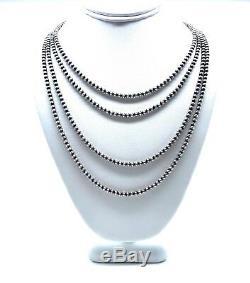 Navajo Perles En Argent Sterling. 925 4mm Collier De Perles