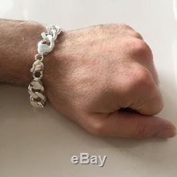 New Mens Chaîne Cubaine Bracelet 13mm 52gr 9.05inch Argent Massif 925 Sterling