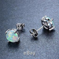 Opale Boucles D'oreilles En Argent Sterling De Bohème Bijoux Cadeau 7.4mm X 7.4mm