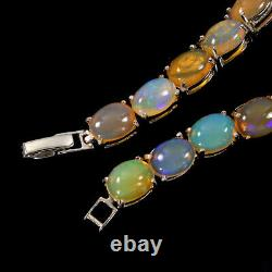 Opale De Feu Ovale Non Chauffé Arc-en-luster 9x7mm 925 Bracelet En Argent Sterling 7.5