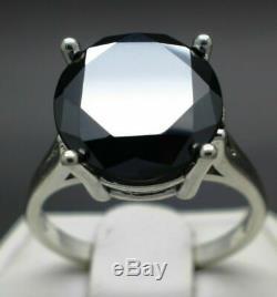 Or Blanc 14 Ct Plus De Black Diamond Bague Solitaire En Argent Sterling Bague De Fiançailles