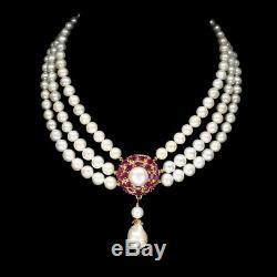 Ovale 6x4mm Ruby Seulement Chauffée Baroque Perle En Argent 925 Collier De 16,5 Pouces