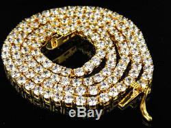 Pour Des Hommes. 925 Blanc En Argent Sterling Simulé Chaîne Diamant 1 Rangée Collier 3mm 18