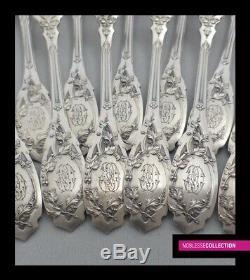 Puiforcat Antique 1880 Ensemble Flatware Dessert Argent Francais 12p Moderne