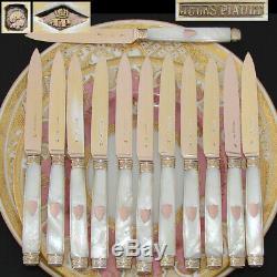 Rare! 60pc Set Antique Français Vermeil- Sur Set Flatware En Argent Sterling