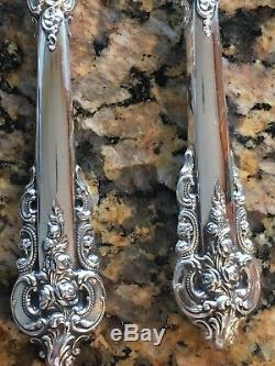 Rare Paire De Couteaux À Poisson Baroque Big Wallace Grande Grande Grande Baroque En Argent Sterling