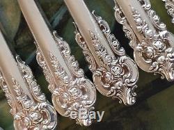 Rare Propre Grand Wallace Grande Baroque Poisson Couteau Fourchette Set Grand Argent Sterling