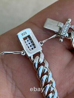 Real 925 Sterling Silver 6mm Iced Miami Cuban Bracelet Men Ladies Hiphop Diamond