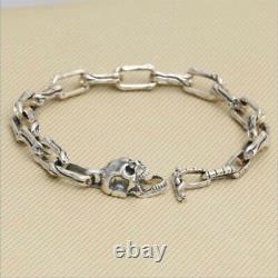 Real 925 Sterling Silver Bracelet Link Skull Bone Clasp Longue Boucle