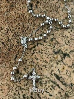 Rosaire Collier De Perles 24 Argent Massif 925 Sterling Italie Hommes Femmes Rosario
