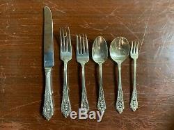 Rose Point Par Wallace Sterling Silver Set Pour 8 Flatware Par 6 Avec 5 Serveurs