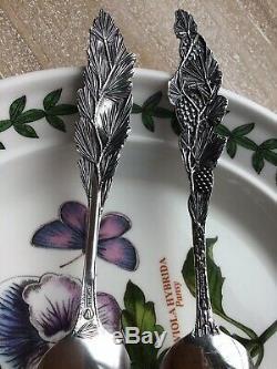 Set 2 Variantes En Argent Sterling Watson Cuillères À Cône En Pin Watson Floral Series Thé Figural