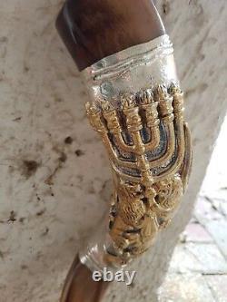 Shofar Yemenite Kudu Horn 24''+ Avec Sterling Silver Lion Of Judah Plates Casher