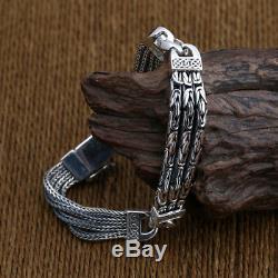Solide 925 Bracelet En Argent Sterling Lien Chaîne Bien Stripe Chaîne De Bijoux Pour Hommes