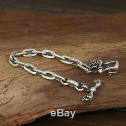 Solide 925 Bracelet En Argent Sterling Lien Crâne Boucle Bijoux Chaîne Pour Hommes