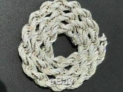 Solide 925 Chaîne De Corde En Argent Sterling Hommes 18 Choker 40ct Diamants Lab Icy