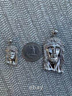 Solide 925 Sterling Silver Jesus Piece Italy Handmade Necklace Fully Iced Diamond