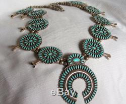 Squash Cérémonie Zuni Indian Blossom Collier Turquoise Et Argent Sterling