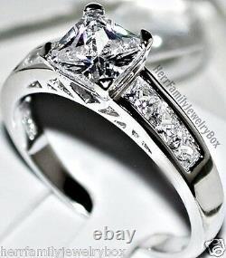 Sterling Silver 14k White Gold Princess Cut Diamond Engagement Ring Wedding Set
